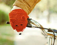 BIKE FOX HANDWARMERS Gloves Wool Crochet Autumn Fall Winter Cold Days Unisex Woman Man Teens Cozy Ginger Red from etsy.com